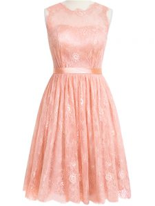 Designer Sleeveless Knee Length Lace Zipper Quinceanera Dama Dress with Peach