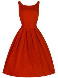 Taffeta Scoop Sleeveless Lace Up Ruching Quinceanera Court Dresses in Red