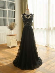 Nice Scoop Sleeveless Zipper Prom Dress Black Tulle