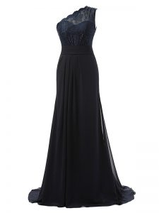 Charming One Shoulder Sleeveless Bridesmaid Gown Brush Train Lace Black Chiffon