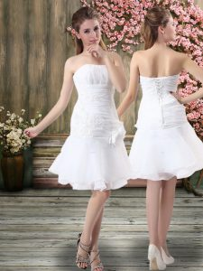 Smart White Strapless Neckline Hand Made Flower Wedding Gowns Sleeveless Lace Up