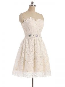 Champagne A-line Tulle Sweetheart Sleeveless Beading and Lace Mini Length Zipper Hoco Dress
