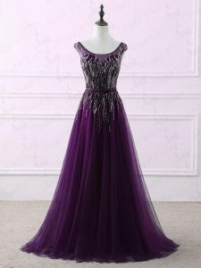 Scoop Sleeveless Sweep Train Zipper Prom Gown Eggplant Purple Tulle