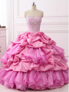 Sweet Rose Pink Ball Gowns Organza and Taffeta Sweetheart Sleeveless Beading and Ruffles and Pick Ups Floor Length Lace Up Ball Gown Prom Dress