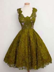 Luxurious Olive Green Straps Lace Up Lace Dama Dress for Quinceanera Sleeveless