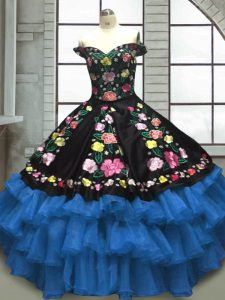 Floor Length Lace Up Quince Ball Gowns Blue And Black for Military Ball and Sweet 16 and Quinceanera with Embroidery and Ruffled Layers