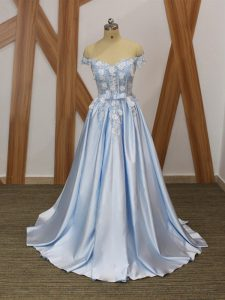 Sleeveless Elastic Woven Satin Floor Length Lace Up Juniors Evening Dress in Light Blue with Appliques and Belt