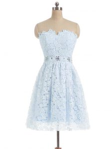 Light Blue Sleeveless Mini Length Beading and Lace and Appliques Zipper Prom Dress