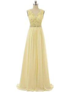 Amazing V-neck Sleeveless Zipper Light Yellow Chiffon