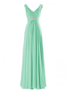 Sleeveless Zipper Floor Length Beading Vestidos de Damas