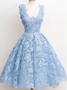 Gorgeous Lace Wedding Party Dress Light Blue Zipper Sleeveless Knee Length