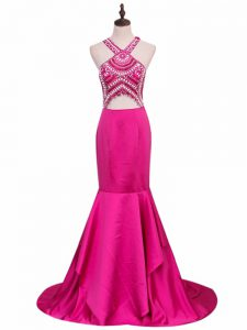 Best Hot Pink Sleeveless Brush Train Beading Dress Like A Star