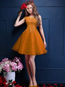 A-line Quinceanera Court Dresses Gold Bateau Tulle Sleeveless Knee Length Lace Up