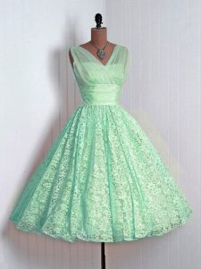 Spectacular Apple Green V-neck Neckline Lace Vestidos de Damas Sleeveless Lace Up