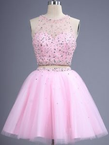Eye-catching Pink Zipper Court Dresses for Sweet 16 Beading and Lace Sleeveless Knee Length