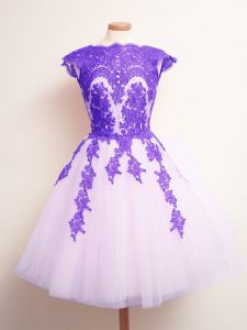 High Quality Multi-color Scalloped Neckline Appliques Court Dresses for Sweet 16 Sleeveless Lace Up