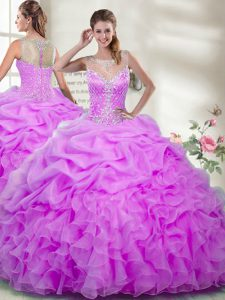 Dynamic Organza Scoop Sleeveless Zipper Beading and Ruffles Sweet 16 Dresses in Lilac