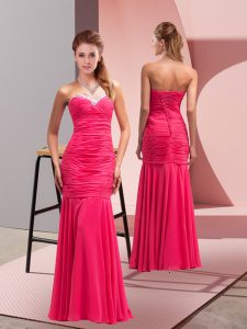 Fabulous Floor Length Lace Up Prom Party Dress Hot Pink for Prom and Party with Sequins