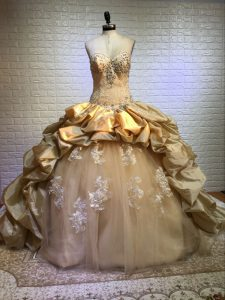 Customized Gold Ball Gowns Sweetheart Sleeveless Taffeta and Tulle Court Train Lace Up Beading and Appliques and Pick Ups Sweet 16 Quinceanera Dress