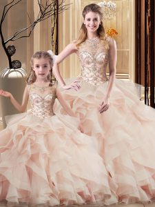High Class Scoop Sleeveless Tulle Sweet 16 Quinceanera Dress Beading and Ruffles Brush Train Lace Up