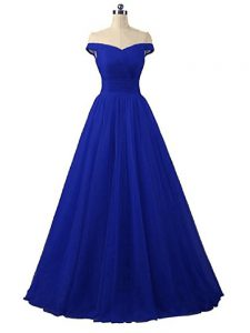 Hot Selling Royal Blue A-line Off The Shoulder Sleeveless Tulle Floor Length Lace Up Ruching Dress Like A Star