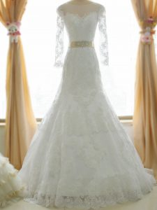 Super Zipper Wedding Gowns White for Beach and Wedding Party with Lace and Appliques Brush Train