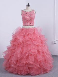 Floor Length Watermelon Red Sweet 16 Quinceanera Dress Organza Sleeveless Beading and Ruffles