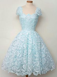 Lace Straps Cap Sleeves Lace Up Lace Quinceanera Dama Dress in Aqua Blue