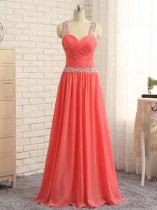 Straps Sleeveless Prom Gown Floor Length Beading and Ruching Watermelon Red Chiffon