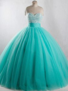 Most Popular Floor Length Ball Gowns Sleeveless Turquoise Quinceanera Dress Lace Up