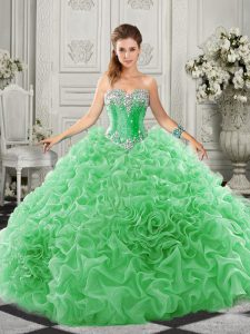 Organza Sleeveless Quinceanera Dress Court Train and Beading and Ruffles