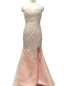 Vintage Peach Sleeveless Tulle Sweep Train Zipper Formal Dresses for Prom and Party and Military Ball and Sweet 16
