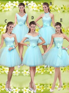 Colorful Aqua Blue A-line Sweetheart Sleeveless Tulle Knee Length Lace Up Lace and Belt Wedding Guest Dresses