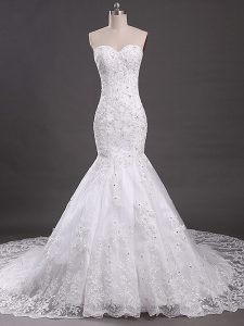 Clearance White Mermaid Lace Wedding Gown Lace Up Tulle Sleeveless