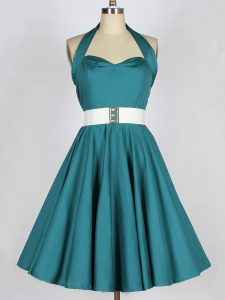 Customized Teal Taffeta Lace Up Halter Top Sleeveless Knee Length Quinceanera Court of Honor Dress Belt