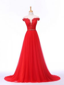 Empire Sleeveless Red Evening Party Dresses Brush Train Lace Up