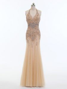 Tulle Halter Top Sleeveless Backless Beading Evening Party Dresses in Champagne
