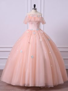 Sumptuous Tulle Off The Shoulder Short Sleeves Lace Up Lace and Appliques Ball Gown Prom Dress in Peach