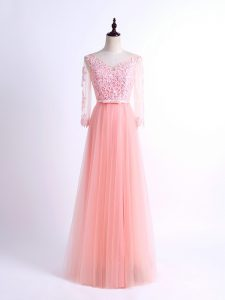 Admirable Lace Damas Dress Pink Lace Up Half Sleeves Floor Length