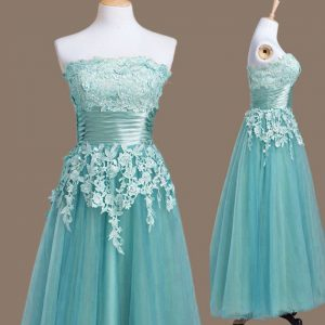Light Blue Strapless Lace Up Appliques Bridesmaids Dress Sleeveless