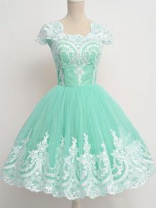 Elegant Apple Green Cap Sleeves Tulle Zipper Quinceanera Court Dresses for Prom and Party and Wedding Party