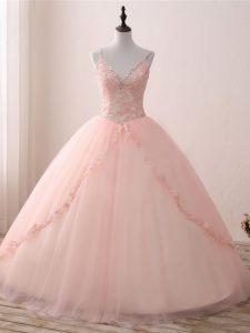 Dramatic Pink V-neck Lace Up Beading and Appliques Quinceanera Gown Sleeveless