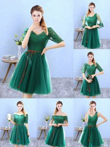 New Arrival Half Sleeves Lace Backless Dama Dress