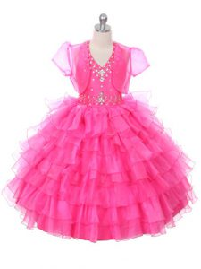 Inexpensive Floor Length Hot Pink Little Girls Pageant Gowns Organza Sleeveless Beading and Ruffled Layers
