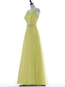 Sleeveless Beading and Lace and Appliques Zipper Evening Dress