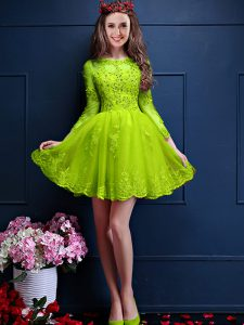 Fashion Yellow Green Lace Up Scalloped Beading and Lace and Appliques Quinceanera Court Dresses Chiffon 3 4 Length Sleeve
