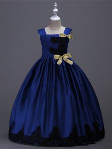 Royal Blue Square Zipper Appliques and Bowknot Womens Party Dresses Sleeveless