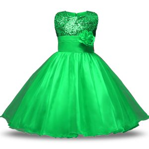 Modest Green Sleeveless Organza and Sequined Zipper Toddler Flower Girl Dress for Military Ball and Sweet 16 and Quinceanera