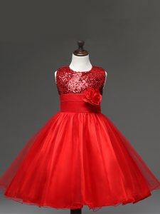 Enchanting Red Zipper Scoop Sequins and Hand Made Flower Kids Pageant Dress Tulle Sleeveless