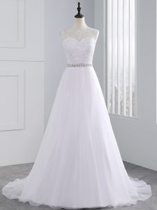 Edgy Scalloped Sleeveless Chiffon Wedding Gowns Beading and Lace Brush Train Zipper